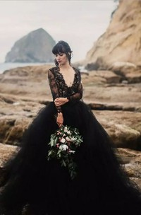 A-Line Ball Gown V-neck Long Sleeve Lace Tulle Wedding Dress