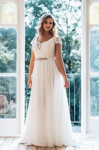 A-Line Long V-Neck Short Sleeve Chiffon Brush Train Illusion Waist Jewellery Dress