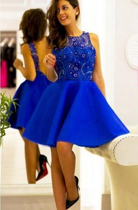 Sleeveless Jeweled A-line Knee-length Satin Dress