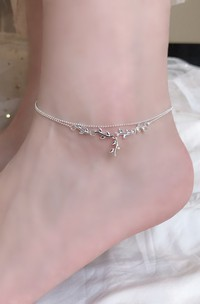 Adorable Silver Double Layer Leaf Anklet For Brides