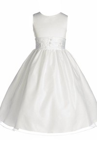 Sleeveless A-line Dress With Embroidery and Bow