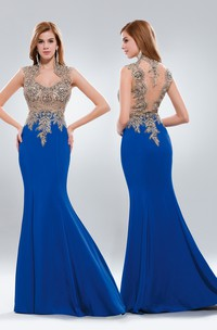 Trumpet Queen Anne Sleeveless Jersey Illusion Dress With Appliques