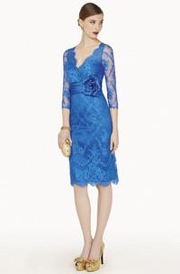 Short-Midi Floral Formal Rhinestone Appliqued Sheath Lace Gown