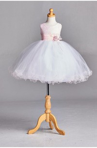 Ruffled Sleeveless Pleated Blush Pink Lace Overlay Top Tulle Skirt