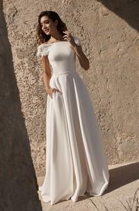 Short Sleeve Deep V-back Back Bateau Satin Wedding Dress With Flower Details And Straps
