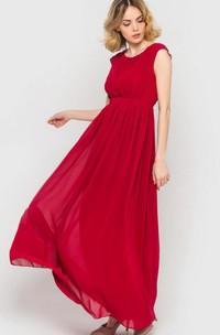 Long Chiffon Cap-sleeve Bridesmaid Dress With Sash