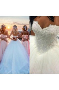 Country Vintage Sweetheart Backless Lace Tulle Princess Wedding Ball Gowns