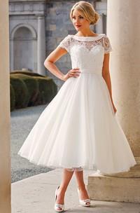 Tea-Length A-Line Cap Sleeve Beaded Bateau Neck Tulle Wedding Dress