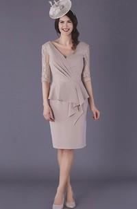 Elegant Chiffon Low-V Back Knee-length Mother of The Bride Dress