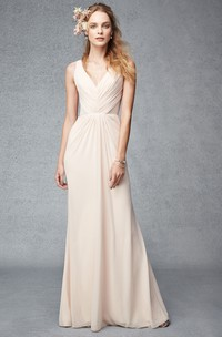 Maxi Ruched V-Neck Sleeveless Chiffon Bridesmaid Dress