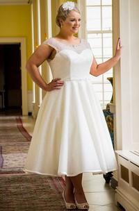 Cap Sleeve Tea Length Bridal Gown With Beading Neck And Waist