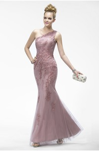 One Shoulder Elegant Sleeveless Mermaid Tulle Dress With Appliques And Zipper