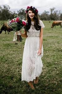 A-Line Sheath Jewel Short Sleeve Lace Wedding Dress