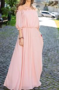 Floor-length Off-the-shoulder Chiffon&Jersey Dress