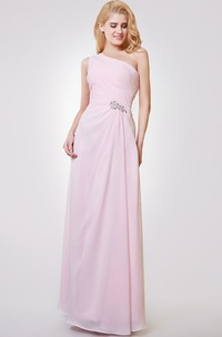 One Shoulder A-line Long Ruched Chiffon Dress