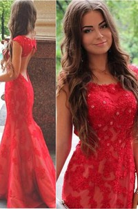Sexy Red Lace Appliques Mermaid Evening Dress 2018 Sweep Train Jewel