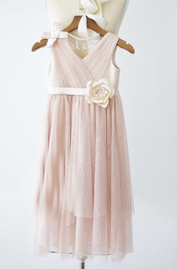 Boho Beach Sleeveless V-neck Tulle Bridesmaid Wedding Party Dress