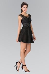 A-Line Short Bateau Cap-Sleeve Lace Dress With Beading