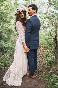 A-Line Sheath V-neck 3 4 Length Sleeve Lace Wedding Dress
