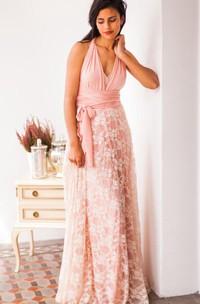 Golden Lace Bridesmaid Peach Bridesmaid Golden Lace Blush Pink Lace Convertible Lace Romantic Lace Dress