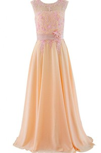 Jewel Lace Appliqued A-line Gown With Satin Band
