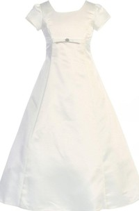 Short-sleeved A-line Satin Dress With Straps