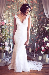 Long Cap Sleeves Mermaid Lace Wedding Gown With V-Neck