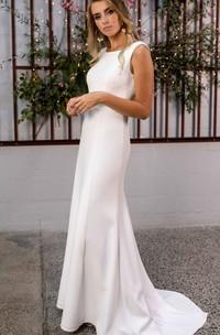 Sexy Satin Lace Bateau Sheath Sweep Train Low-V Back Wedding Dress