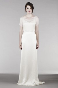 Short Sleeve Elegant Wedding Gown With Illusion Top And Keyholes For Shoulder And Back