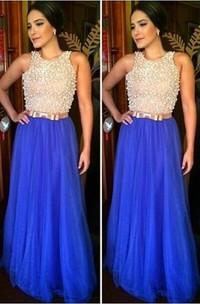 Glamorous Jewel Sleeveless Long Prom Dress With Beadings