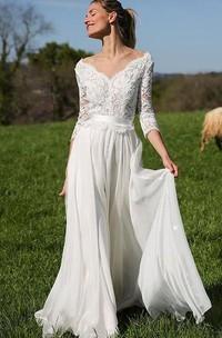 A Line V-neck Chiffon Lace Floor-length 3/4 Length Sleeve Wedding Dress
