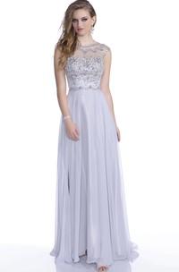 Cap Sleeve A-Line Chiffon Prom Dress Featuring Shining Rhinestone Bodice