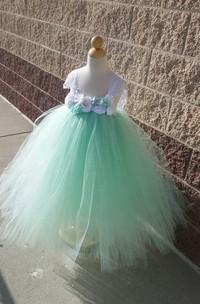 Beautiful Mint Sleeveless Empire Tulle Tutu Dress With Vintage Flowers