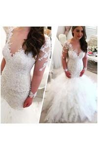 Cascading Ruffles V Neck Long Sleeves Lace Appliques Beaded Elegant Backless Wedding Dress