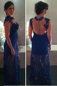 Sheath Column Sleeveless High Neck Lace Floor-Length Dresses