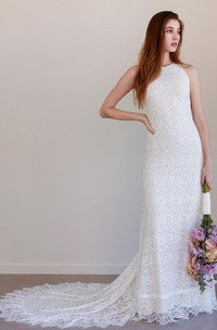 Boho Lace Jewel Beckline Sheath Sleeveless Wedding Dress with Keyhole Back