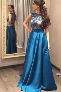 A-line Floor-length Sleeveless Satin Lace Dress
