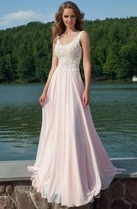 Sheath V-Neck Appliqued Sleeveless Floor-Length Chiffon Prom Dress