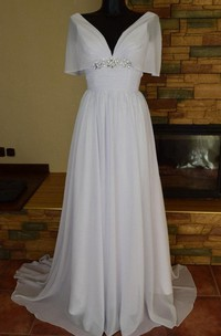 V-Neck A-Line Chiffon Wedding Dress With Ruching and Beading