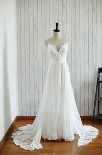 Backless Chiffon Lace Satin Wedding Dress