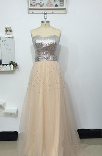 A-line Sweetheart Tulle Dress With Sequins