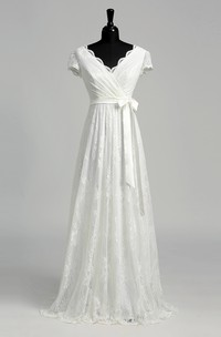 Floor-length A-line Scalloped V-neck Cap Illusion Short Sleeve Low-V Back Lace Weeding Dress