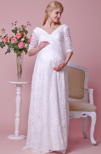 Allover Lace Deep-v Neck Maternity Wedding Dress With 3 4 Sleeves