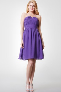 Strapless Ruched Short A-line Chiffon Dress With V-cut