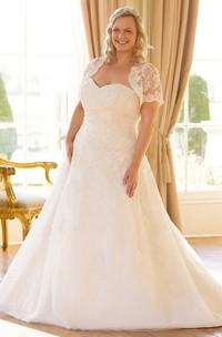 Sweetheart Short-Sleeve Lace Plus Size Wedding Dress With Illusion