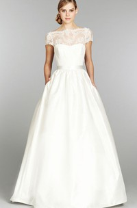 Stunning Cap Sleeve and Illusion Neckline Long Lace Gown