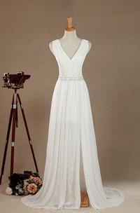 Maxi V-Neck Chiffon Lace Satin Weddig Dress With Low-V Back