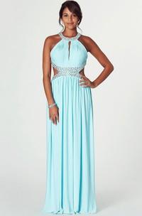 Maxi Sleeveless Scoop Neck Ruched Chiffon Prom Dress