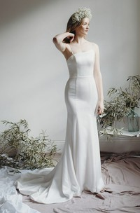 Open Back Simple Asymmetrical Mermaid Bridal Gown With Spaghetti Straps