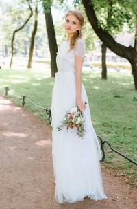 A-Line Floor-Length Tulle Lace Satin Dress With Flower